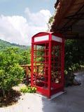 Красная переговорная будка против зеленой предпосылки дерева Стоковое фото RF