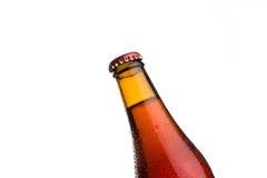 Красная пивная бутылка на белой предпосылке Стоковое фото RF