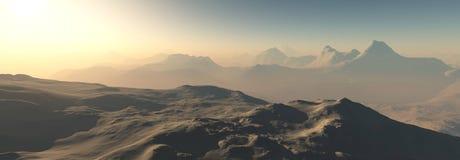 Красная планета, панорамный ландшафт Марса Стоковые Фото