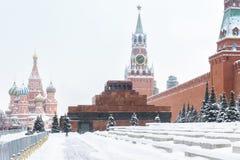 Красная площадь во время снежностей в зиме, Москвы Стоковое Изображение RF