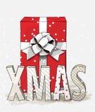 Красная подарочная коробка с большими белыми лентой и письмами XMAS, иллюстрацией рождества Стоковое фото RF