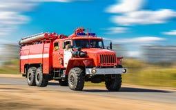 Красная пожарная машина Стоковые Изображения