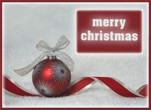 красная поздравительная открытка рождества орнамента Стоковые Фото