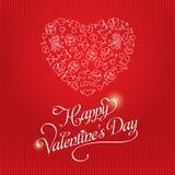 Красная поздравительная открытка дня ` s валентинки Стоковое Изображение RF
