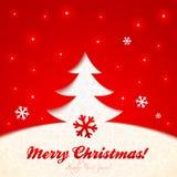 Красная поздравительная открытка рождественской елки бумаги выреза иллюстрация вектора