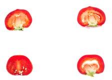 Красная помадка прерванная вокруг перца, изолированного на белой предпосылке Стоковое Изображение RF