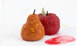Красная помадка плодоовощ яблока и груши с лист Стоковое фото RF