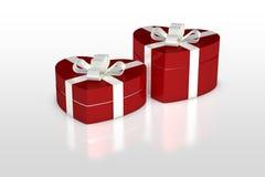 Красная подарочная коробка в форме сердца Стоковые Изображения