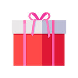 Красная подарочная коробка с розовой лентой Стоковые Изображения RF