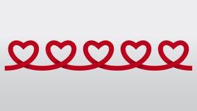Красная предпосылка вектора выреза цепи бумаги сердца Стоковое Изображение RF