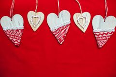 Красная предпосылка, предпосылка для текста, Нового Года, изображения рождества, красивого сердца Стоковые Фотографии RF