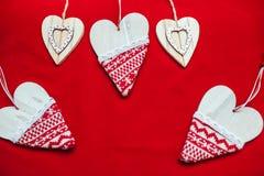 Красная предпосылка, предпосылка для текста, Нового Года, изображения рождества, красивого сердца Стоковое Изображение