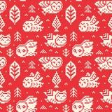 Красная предпосылка зимы с сычами и деревьями в стиле пиксела предпосылка объезжает померанцовый вектор квадратов орнамента иллюстрация штока