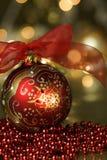 Красная предпосылка праздника орнамента Стоковая Фотография RF