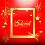 Красная предпосылка рождества с украшением w confetti яркого блеска золота иллюстрация штока