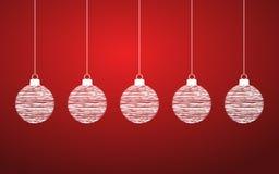 Красная предпосылка рождества с шариками стоковое фото