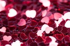 Красная предпосылка сердца искры яркий и праздничный Концепция ` s валентинки St приветствия Фото макроса Стоковая Фотография RF