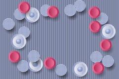 Красная предпосылка с круглыми украшенными формами стоковые фотографии rf