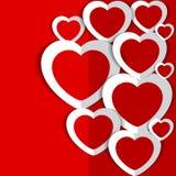 Красная предпосылка с сердцами на день ` s валентинки Стоковые Фотографии RF