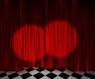 Красная предпосылка этапа фары занавеса Стоковая Фотография RF