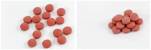 Красная предпосылка белизны коллажа кучи пилюлек Стоковая Фотография RF