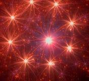 Красная предпосылка глубокого космоса с супер звездами Стоковая Фотография