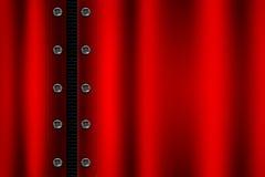 Красная предпосылка металла с заклепкой на серой металлической сетке Стоковое фото RF