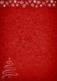 Красная предпосылка рождества с деревом и украшениями Стоковая Фотография RF