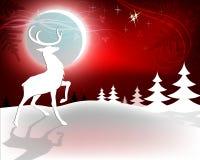 Красная предпосылка рождества с оленями Стоковая Фотография RF