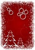 Красная предпосылка рождества с bolls и деревом Стоковое фото RF