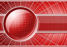 Красная предпосылка с глобусом Стоковое Изображение RF