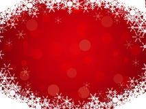 Красная предпосылка с рамкой и bokeh снежинки Стоковая Фотография