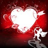 Красная предпосылка с сердцами и купидоном Стоковые Фотографии RF