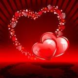 Красная предпосылка с сердцами комплекта Стоковая Фотография