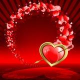 Красная предпосылка с сердцами комплекта Стоковые Фотографии RF