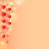 Красная предпосылка с сердцами Стоковая Фотография RF