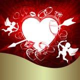 Красная предпосылка с сердцем и стрелкой Стоковое Изображение RF