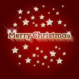 Красная предпосылка с словами с Рождеством Христовым и золотыми звездами Стоковая Фотография RF
