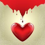 Красная предпосылка текстуры золота сердца Стоковое Изображение RF