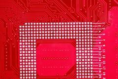 Красная предпосылка текстуры монтажной платы материнской платы компьютера Стоковые Изображения RF
