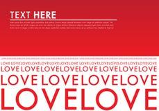Красная предпосылка Typo влюбленности Иллюстрация штока