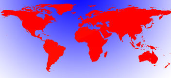 Красная проиллюстрированная карта мира иллюстрация вектора