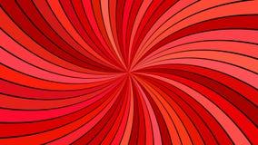 Красная психоделическая спиральная предпосылка нашивки - vector изогнутая иллюстрация луча Стоковые Изображения