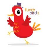 Красная птица в шляпе в стиле шаржа, на белизне Стоковое Фото