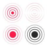 Красная пульсация звенит значки набор звуковых войн, линия градиент круга, линии радиосигнала черно-белые с большим пунктом внутр иллюстрация вектора