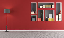 Красная пустая живущая комната с bookcase Стоковые Изображения