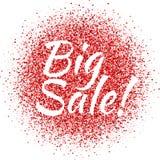 Красная пыль с БОЛЬШИМ знаком продажи glitter Shimmer продажи Сверкная текст иллюстрация вектора