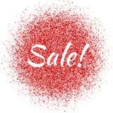 Красная пыль с знаком продажи glitter Shimmer продажи Сверкная текст иллюстрация вектора