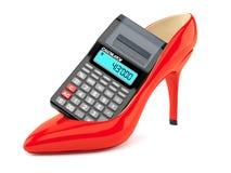 Красная пятка с калькулятором иллюстрация штока