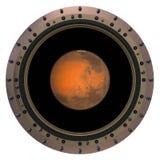 Красная планета в иллюминаторе корабля Стоковое Изображение RF